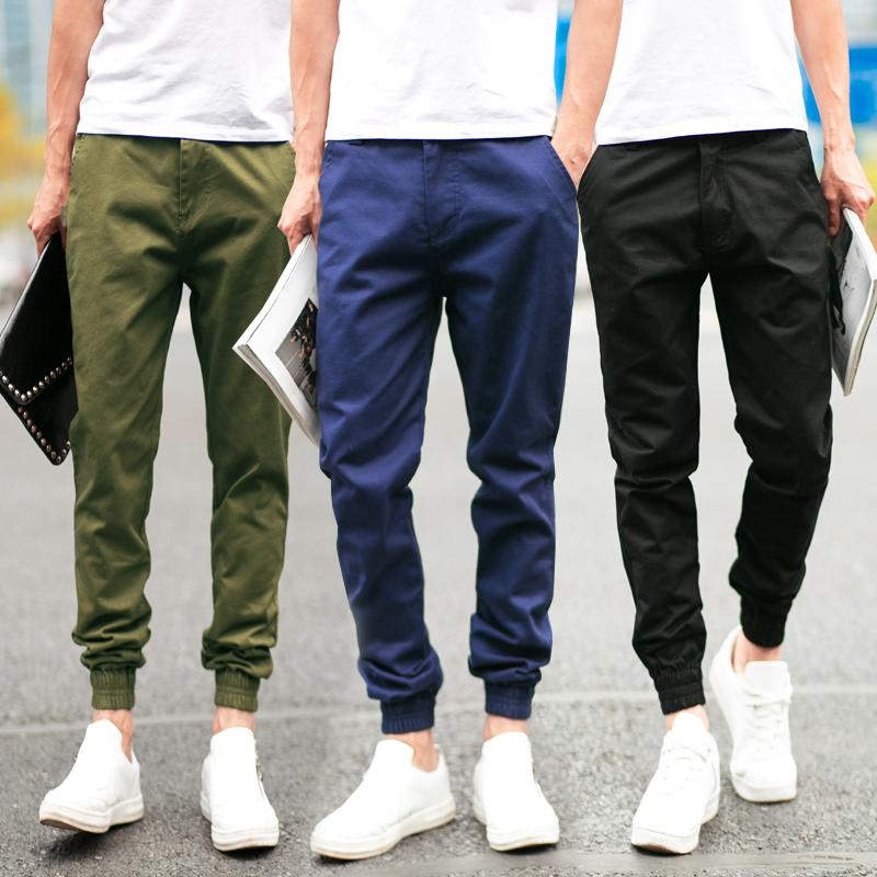 Pre Order กางเกงลำลองสีพื้น ทรงฮาเร็มแฟชั่นเกาหลี ดีไซน์เป็นขาจั้ม มี5สี