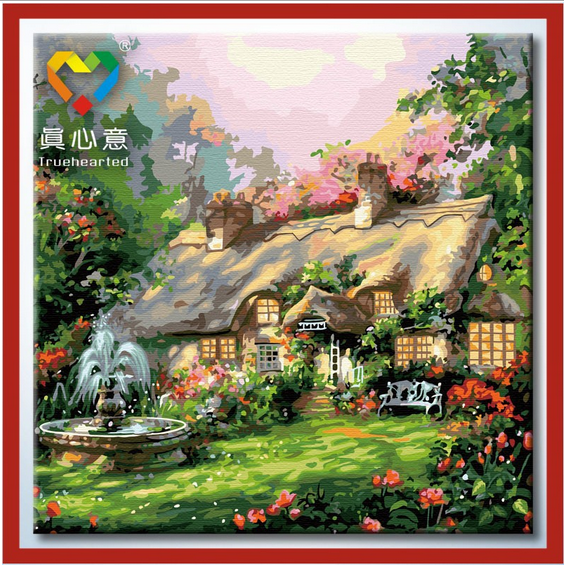 รหัส DH6060005 ภาพระบายสีตามตัวเลข Paint by Number แบบ Beautiful house ขนาด60x60cm/พร้อมส่ง