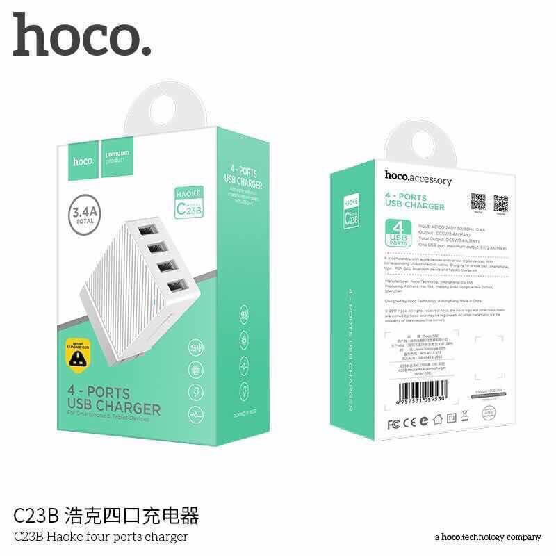HOCO C23B 4 Ports USB Charger Adapter for iPhone iPad Samsung