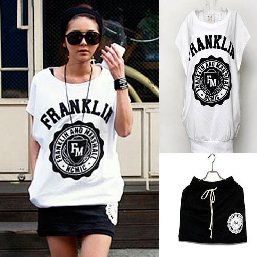 ++สินค้าพร้อมส่งค่ะ++ ชุด Sport set เกาหลี เสื้อ แขนเลย คอกลม สกรีนด้านหน้า Franklin เอวจั้ม+กระโปรงสั้นเอวรูด - สีดำ
