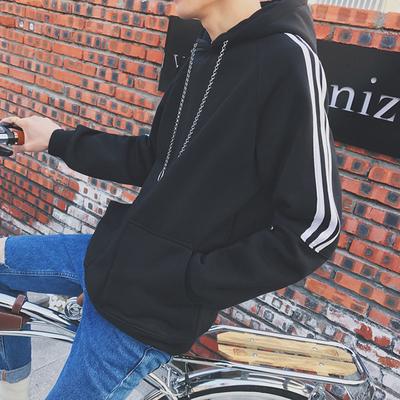 เสื้อฮู้ดแขนยาวเกาหลี แต่งแถบเส้นแขนเสื้อ มี2สี