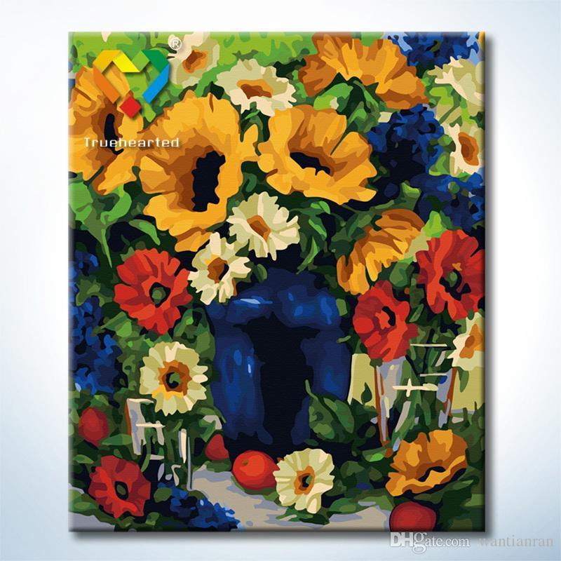 รหัส HB4050356 ภาพระบายสีตามตัวเลข Paint by Number แบบ Flowers ขนาด40x50cm/พร้อมส่ง