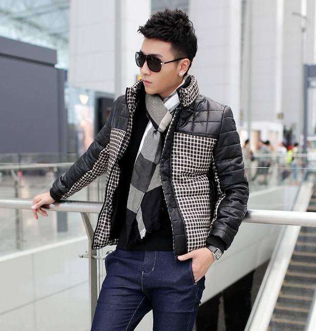 Pre Order เสื้อแจ็คเก็ตกันหนาว เสื้อแขนยาวคอตั้ง ดีไซน์ลายตาราง แต่งสลับสี มี2สี