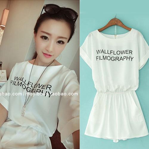 ++สินค้าพร้อมส่งค่ะ++ Jumpsuit กางเกงขาสั้นเกาหลี คอกลม แขนค้างคาว ผ้าชีฟองเนื้อมุกสวย พิมพ์ตัวอักษรด้านหน้า น่ารัก – สีขาว