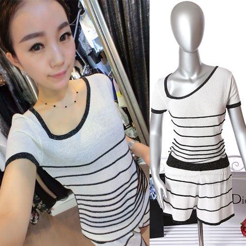 ViVi Party ++สินค้าพร้อมส่งค่ะ++ ชุดแฟชั่นเซ็ทเกาหลี เสื้อแขนสั้น คอเฉียง ผ้า Knit เนื้อเบาสบายพิมพ์ลายริ้ว+กางเกงขาสั้น – สีขาว