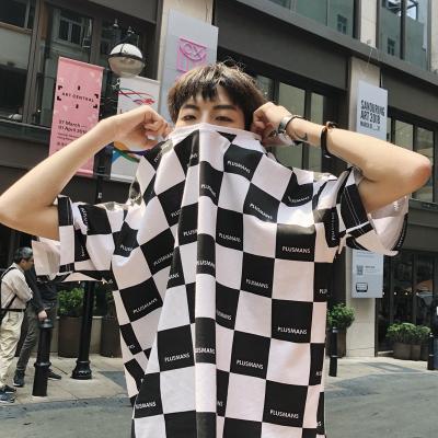 เสื้อยืดแขนสั้นเกาหลี ทรงหลวม แต่งลายตารางหมากรุก มี2สี