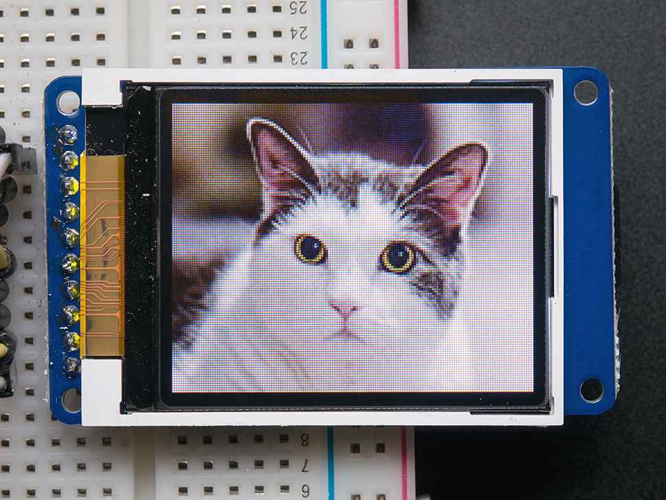 "1.8"" Color TFT LCD Display with MicroSD Card Breakout (Adafruit)"