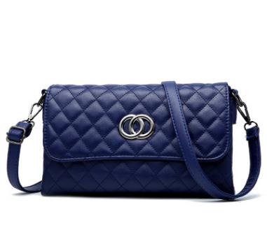 Pre-order กระเป๋าสะพายข้างแต่ง OO แฟชั่นสไตล์ Chanel เย็บลายตารางรหัส KO-539 สีน้ำเงิน