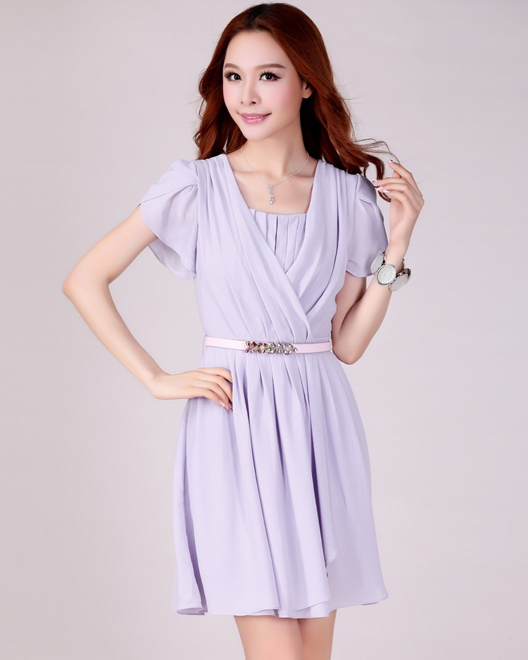 (เสื้อผ้าแฟชั่น นำเข้า พร้อมส่ง) ชุดเดรสเกาหลี สาวอวบ set 2 ชิ้น แขนสั้นจีบบัว สีม่วง (Size XL) แถมเข็มขัด