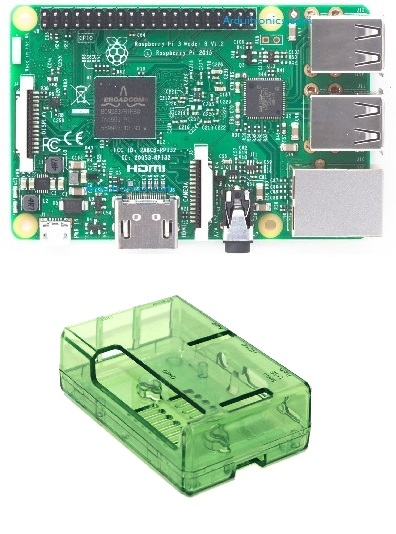 Raspberry Pi 3 Model B (Element 14) and Green (or BLUE) Case