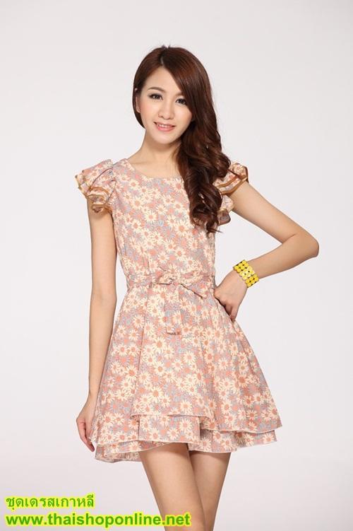 ชุดเดรส แฟชั่นเกาหลี ลายดอกไม้ ผ้าซีฟอง คอกลม แขนระบาย ซิปหลัง กระโปรงบาน สวยมากๆ ครับ thaishoponline พร้อมส่ง