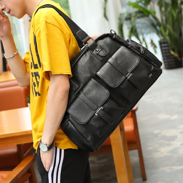 Pre-order ขายส่งกระเป๋าใบใหญ่ ถือและสะพายผู้ชายนักธุรกิจ ใส่คอมพิวเตอร์ 14 นิ้ว แฟขั่นเกาหลี รหัส Man-9868 สีดำ