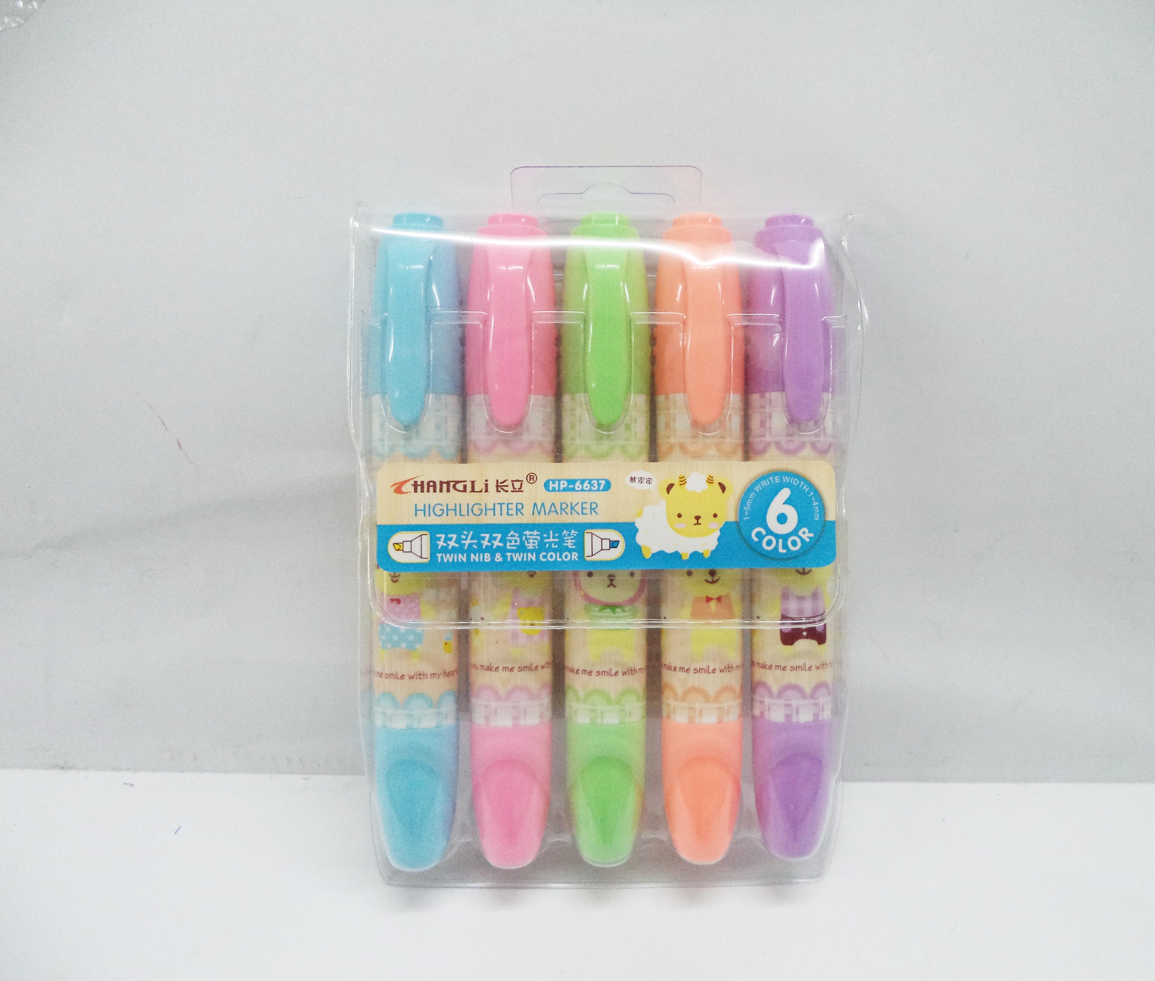ปากกาเน้นข้อความ 5 ด้าม 6 สี