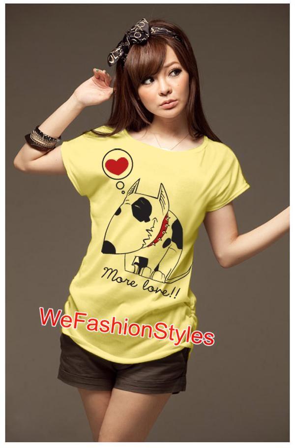 เสื้อยืดแฟชั่น ผ้านุ่ม ลายน้องหมา More Love สีเหลือง