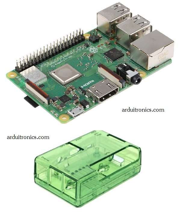 Raspberry Pi 3 Model B+ (RS) New version 2018 and Green (or BLUE) Case