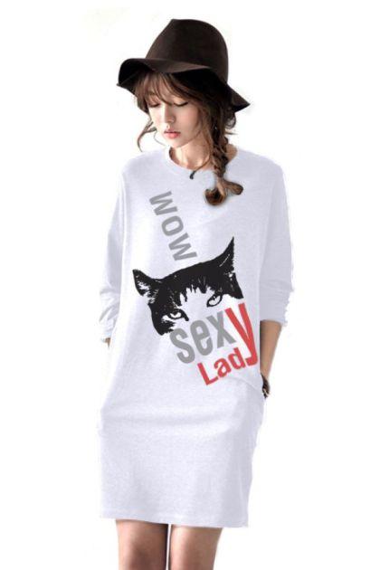 เสื้อยืดตัวยาว /แซกสั้น ผ้านุ่ม แขนยาว ลาย Fox (สีขาว)