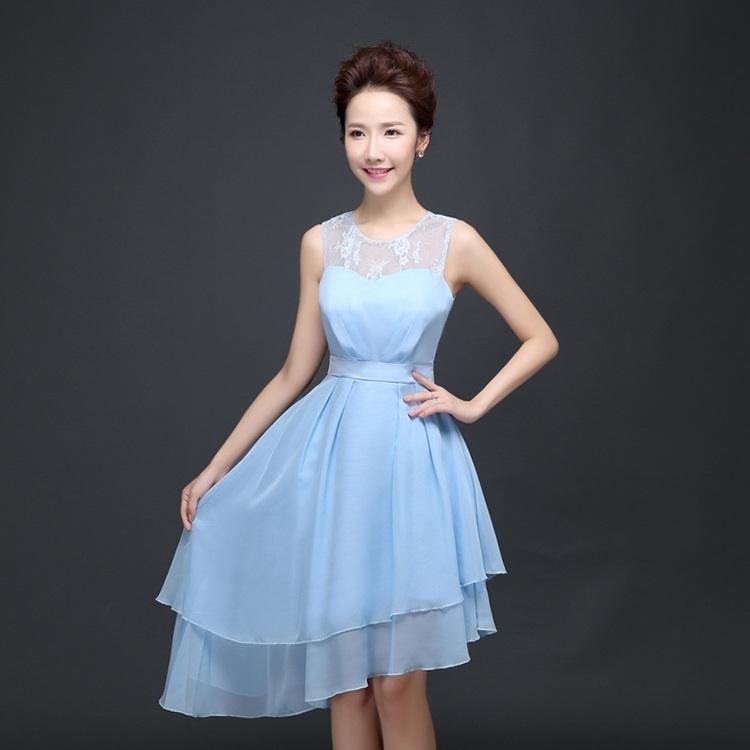ชุดราตรีสั้น ตัวชุดผ้าชีฟองเนื้อดี สีฟ้า แขนกุด