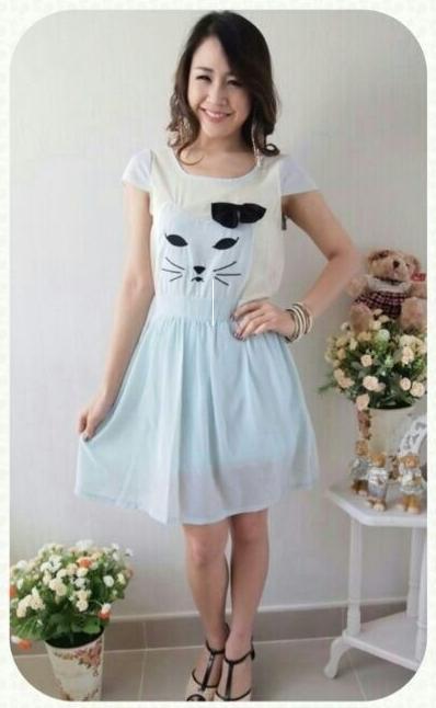 เสื้อผ้าแฟชั่น สุด Chic ชุดเดรส ปักลายแมว แขนล้ำ SU34_3