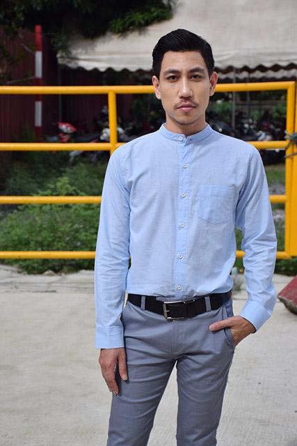 เสื้อเชิ้ตคอจีนสีฟ้าล้วน