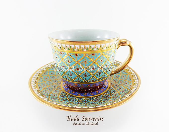 ของที่ระลึก แก้วกาแฟเบญจรงค์ ทรงกลม ลวดลายหยดน้ำ โทนสีฟ้า ลายเนื้อนูนเคลือบผิวเงา สินค้าพร้อมส่ง (ราคาไม่รวมกล่อง)