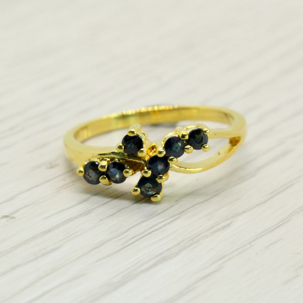 แหวนพลอยไพลินแท้ หุ้มทองคำแท้ ไซส์ 53