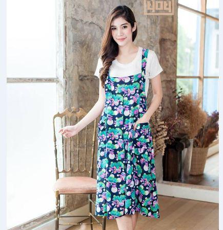 เอี้ยมคลุมท้อง ผ้ายืดเด้งเกาหลี เนื้อดีมีน้ำหนักทิ้งตัวสวย พื้นกรมท่าพิมพ์ลายดอกไม้เเต้มจุดสีสันสดใส (เฉพาะเอี้ยมนะคะ)