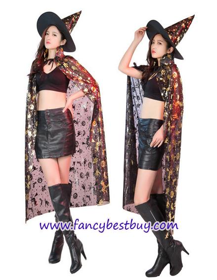 ผ้าคลุมพ่อมดแม่มด สีทอง ยาว 120 ซม. สำหรับแต่งเป็น ชุดแฟนซี แบบชุดพ่อมดและแม่มด ในวันฮาโลวีน (ไม่รวมหมวก)