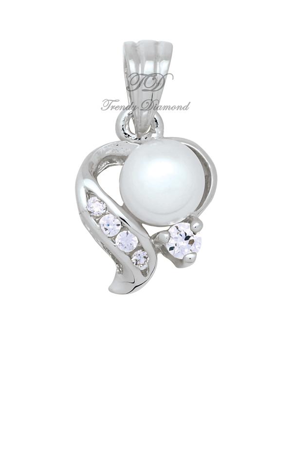 จี้เพชร จี้เพชร Pearl at Hearth สีทองคำขาว