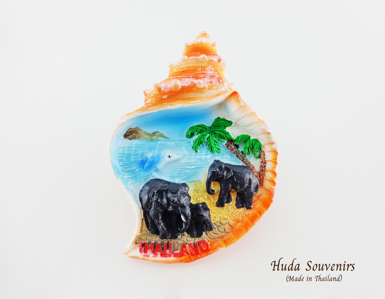 ของที่ระลึกไทย แม่เหล็กติดตู้เย็น ลวดลายหาดทราย รูปทรงเปลือกหอย