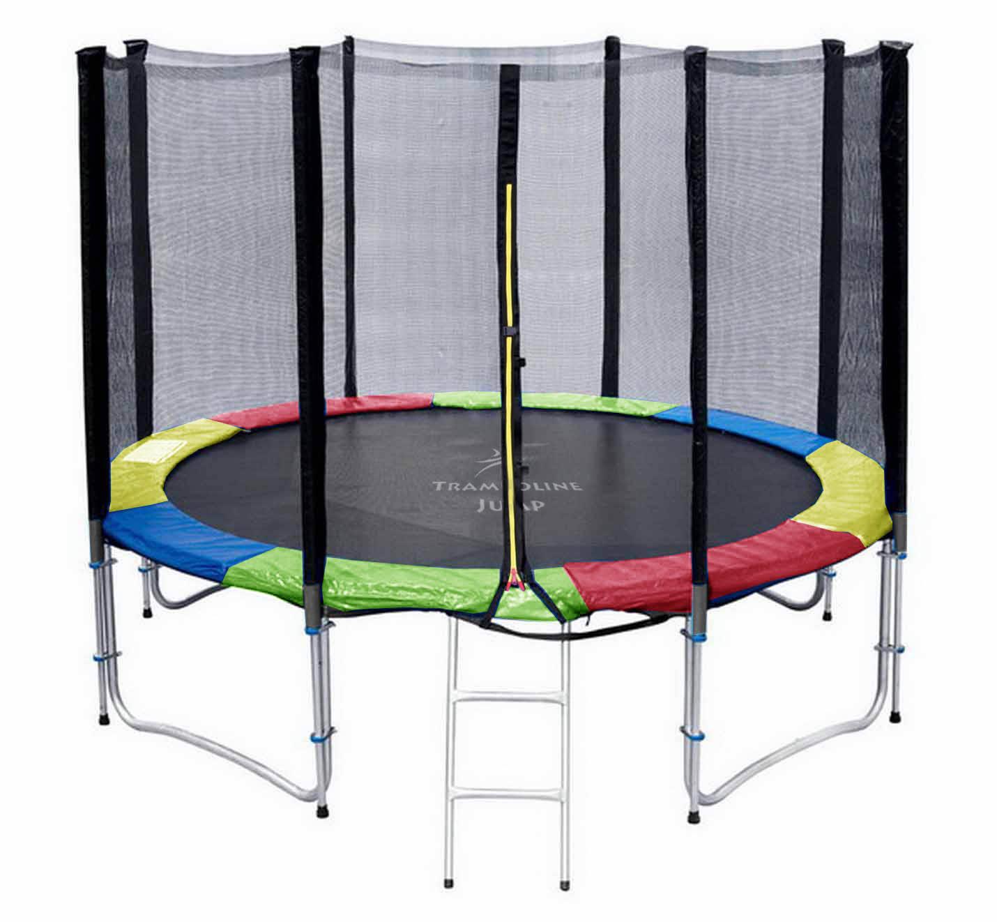 แทรมโพลีน 12 ฟุต สี colorful สปริงบอร์ด trampoline เครื่องออกกำลังกายเพิ่มความสูง สำหรับ 5 คน