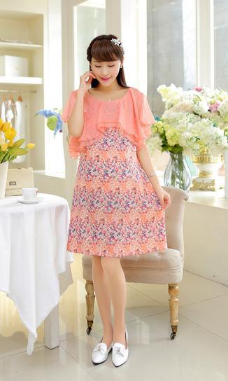 Dressกระโปรง ผ้าชีฟองพิมพ์ลายดอกไม้สีโอรส น่ารัก ส่วมใส่สบายไม่ร้อนคะ