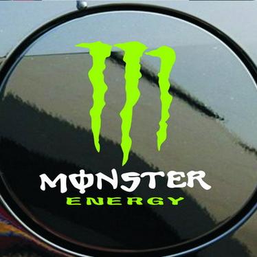 สติ๊กเกอร์แปะฝาถังน้ำมันรถ Monster Energy (ตัวอักษร Monster สีขาว) ขนาด 11x11CM