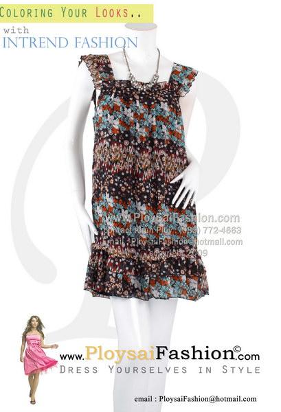 pd2756 - ชุดเดรสสั้น ผ้าซีฟองพิมพ์ลายดอก แขน+ชาย แต่งระบาย ซับในทั้งตัว สวยๆน่ารักๆค่ะ