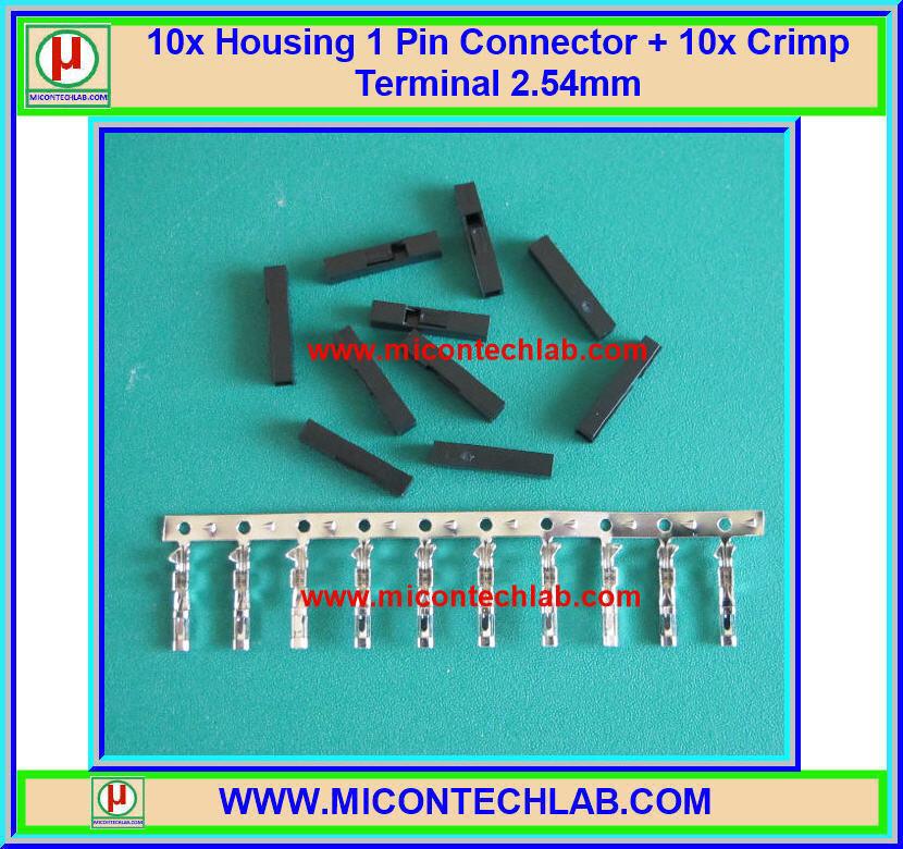 10x Housing 1 Pin Connector + 10x Female Crimp Terminal 2.54mm