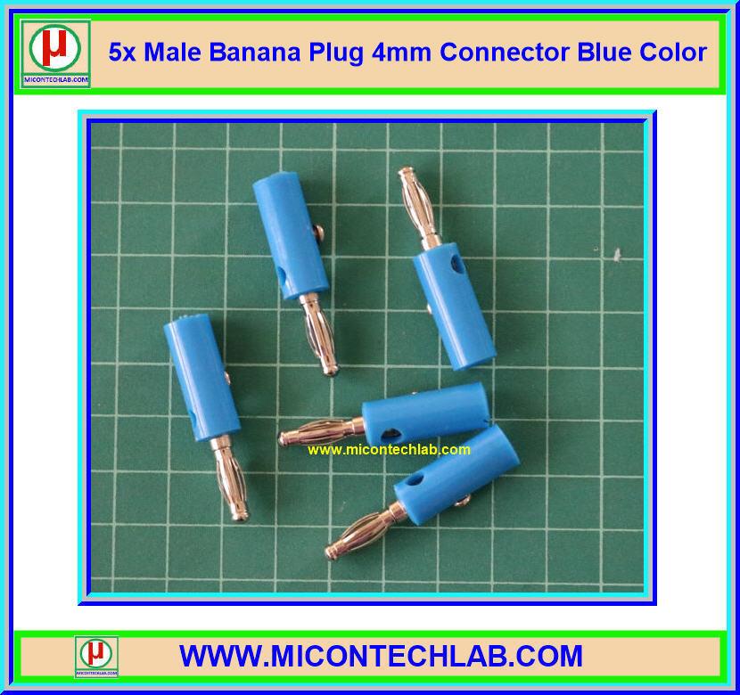 5x Male Banana Plug 4mm Connector Blue Color