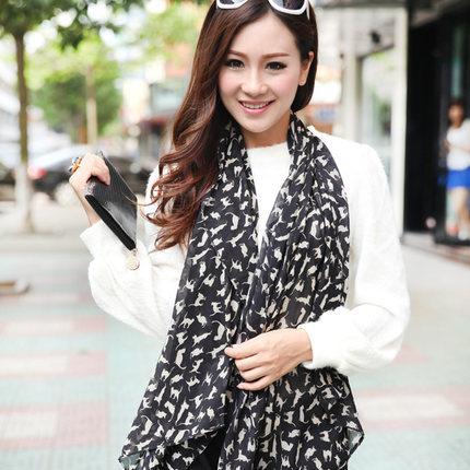 ผ้าพันคอชีฟอง ลายแมวสีดำ