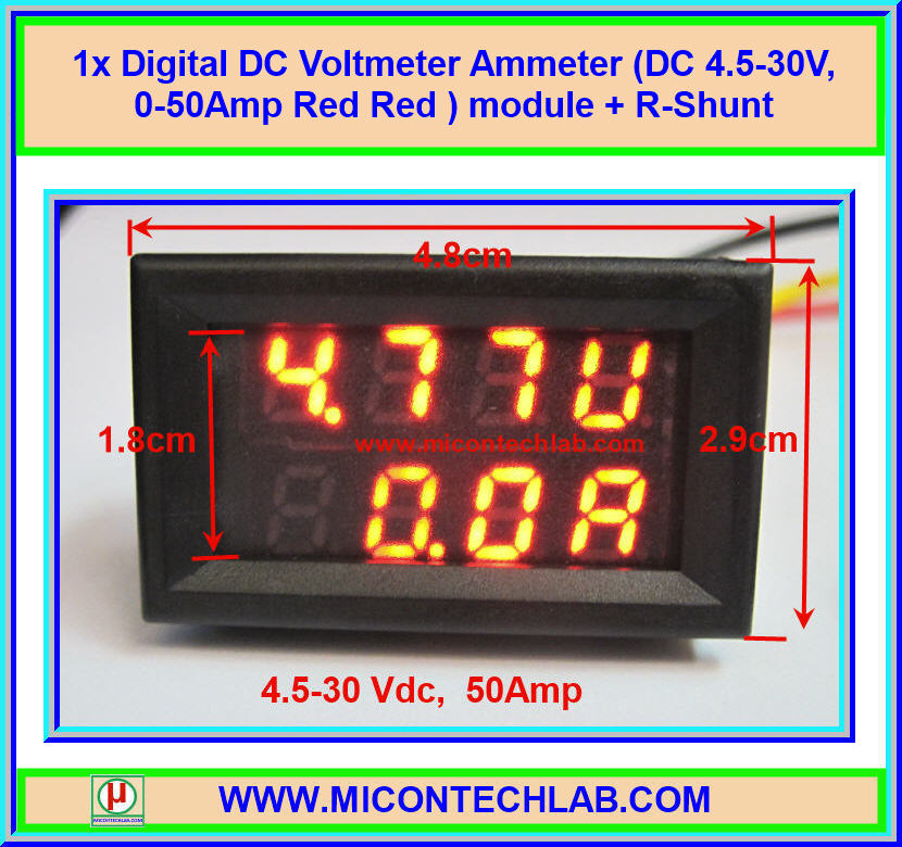 1x Digital DC Voltmeter Ammeter (DC 4.5-30V, 0-50Amp Red Red ) module + R-Shunt