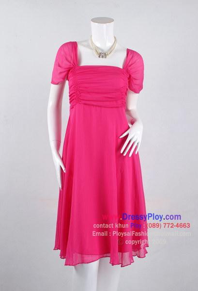 an020 - ชุดไปงานแต่ง(สาวอวบใส่ได้ค่ะ) ผ้าซีฟองสีชมพู ดีไซน์ย่นช่วงอก สวยเรียบหรูดูดีค่ะ