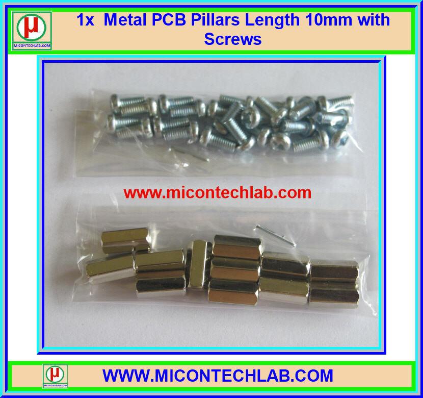 12x Metal PCB Pillars 10mm with 24x Nuts (เสารองแผ่นพีซีบีโลหะแบบเหลี่ยมพร้อมน็อตยึด)
