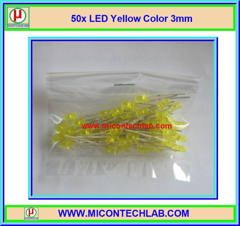 50x LED Yellow Color 3mm (แอลอีดีสีเหลือง 3มม 50 ตัวต่อชุด)