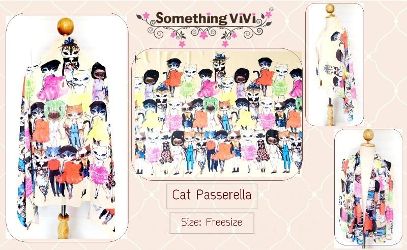 ผ้าพันคอ/ผ้าคลุมไหล่/ผ้าคลุมให้นม รุ่น Cat Passerella (Freesize) แมวนางแบบเชิ่ดๆ เริ่ดๆ สวยแบบหรูหรา เหมาะกับทุกสีผิด สำหรับคนที่ชอบแบบหรูๆ แนะนำลายนี้เลยค่ะ ปังแน่นอน สามารถใช้คลุมกันแดด กันลมได้ค่ะ ผ้าพันคอสีดำ ถวายอาลัย พร้อมกล่อง/ซองแพคเกจอย่างดี ของข