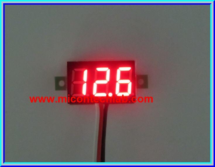 1x Mini Digital DC Voltmeter module 0-100 Vdc RED LED 7's Segment 2 Wires