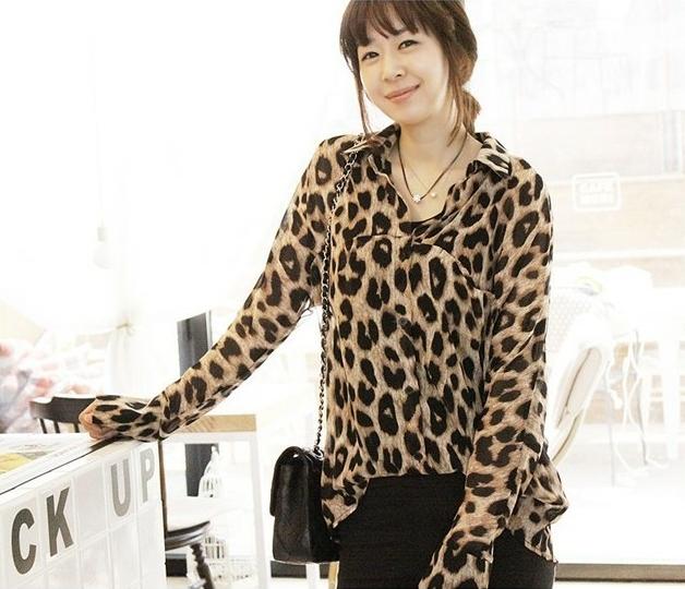 Animal Print Fashion เสื้อเชิ้ตผ้าชีฟอง พิมพ์ลาย Leopard