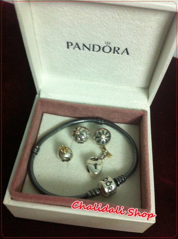PANDORA : สร้อยข้อมือแพนโดรา สร้อยสีเงินรมดำ ขายพร้อม charms และ solaris clips